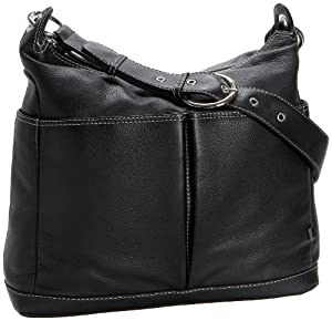 OiOi Two Pocket Leather Hobo Baby Changing Bag Black with Zebra Lining and Accessories from OiOi