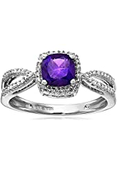 10k White Gold Cushion Birthstone Ring (1/10 cttw, I-J Color, I2-I3 Clarity)