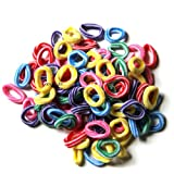 Pack Of 100 SMALL Terry Elastic Tiny Ponytail Hair Band Holder MIX COLORS