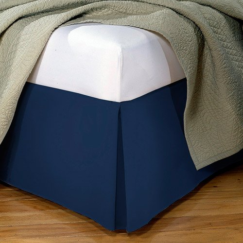 "650 Tc Egyptian Cotton 1X Bed Skirt For Rv'S, Campers, Bunk & Travel Trailers 15"" Drop Rv Three Quarter (48X75"") Navy Blue Solid back-1087884"