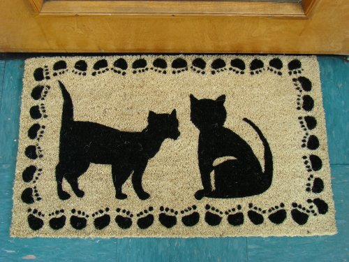 Printed Coco Coir Doormat Cat Design