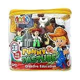 Premium Quality 38 Pieces Farm Themed Plastic Color Building Blocks Set - Creative Learning Construction Toys...