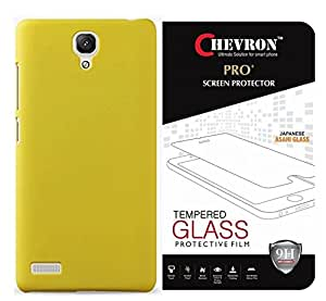 Chevron Rubberized Back Cover Case for Redmi Note Prime with Pro+ TempeYellow Glass (Yellow)
