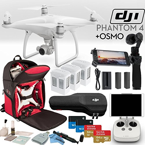 DJI-Phantom-4-Advanced-Quadcopter-OSMO-Bundle-Includes-DJI-Osmo-3-Phantom-4-Batteries-2-Osmo-Batteries-Phantom-4-Shockproof-Backpack-2x-SanDisk-64GB-Extreme-MicroSD-Cards-and-more