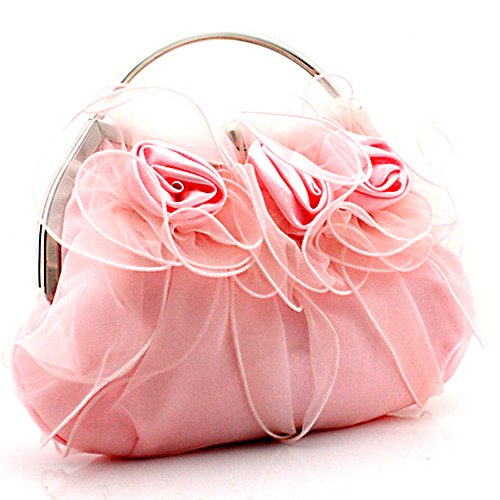 MZZ SIL076 fairy tale princess Style 3D Roses Satin Tote Handbag Small Evening Purse Bridal Prom Clutch Gift