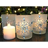 """Snowflake Candleholders with Flameless Flickering LED Candles Set of 3 Frosted Glass Glittery Snowflakes with Jewels - 2.75""""H"""