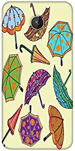 Snoogg Abstract Rainy Season Background With Umbrellas Designer Protective Back Case Cover For Micromax Canvas Spark Q380