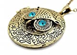 Jewellery Chic Boutique Vintage Bronze Owl Bird Crystal Locket Jewellery Long Necklace + Gift Bag