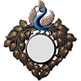 Ghanshyam Art Wood Peacock Wall Mirror (58.42 Cm X 4 Cm X 58.42 Cm, GAC055)