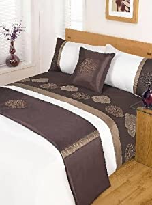 JASMINE CHOCOLATE DOUBLE Size 5pc Bed In A Bag Duvet Cover Bedding Set: 1 x Duvet Cover, 2x Pillowcases, 1 x Cushion Cover, 1 x Quilted Bed Runner