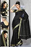 Black Art Silk Saree Sari fabric India Golden Border