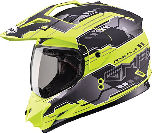 Gmax GM11D Dual Sport Adventure Full Face Helmet (Flat Black/Hi-Viz, Small) (Gmax Modular Helmet Small compare prices)