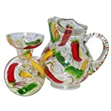 ArtisanStreet's 5-piece Margarita Set. Hand Painted with Colorful Chili Peppers. Made to Order.