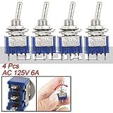 SODIAL(R) 4本、AC125V6A3ピンSPDTオン/オフ/3ポジションスイッチ 青い