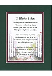 A Mother & Son, #01, Touching 8x10 Poem, Double-matted in Dark Green Over Burgundy And Enhanced With Watercolor Graphics. A Gift For A Mother, Son Or A New Mother.
