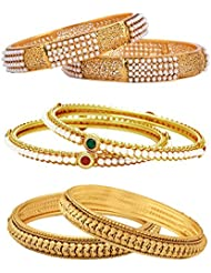 Jewels Galaxy Combo Of Broad Designer Pearls Bangles, Trendy Gold Plated Bangles - Pack Of 6