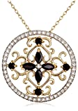 Yellow Gold Plated Sterling Silver Sapphire and Diamond Accent Circle Pendant, 18""
