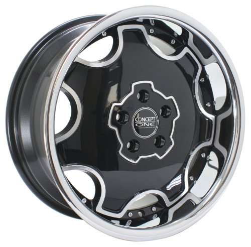 Concept One Dynasty (Series 714) Black with Chrome Lip - 18 x 8 Inch Wheel