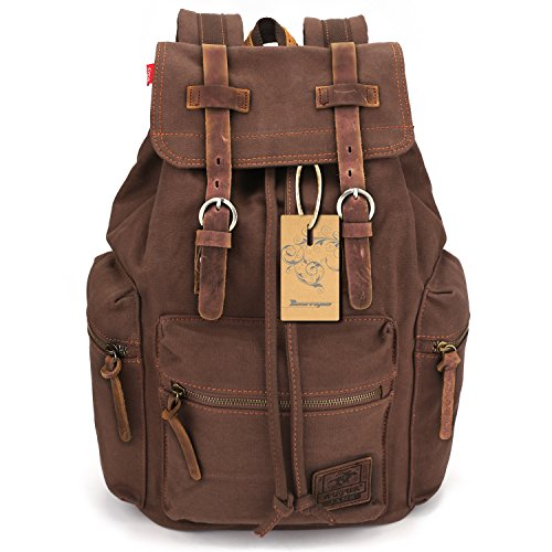 BESTOPE® Unisex Canvas Backpack Rucksack Vintage Backpack Casual School Hiking Travel Backpack with Leather Strap