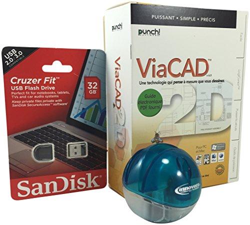 Drafting 3 Pcs Bundle - Punch Software ViaCAD 2D Version 6 - Windows & Macintosh, Innovera Copy Up Freestanding Desktop Copyholder, Blue, SanDisk Cruzer Fit CZ33 32GB USB 2.0 Low-Profile Flash Drive (Tops Software compare prices)