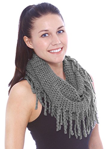 Simplicity Women'S Crotchet Infinity Scarf In Soft Knitted Style, Tassels