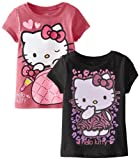 Hello Kitty Little Girls' Two-Pack Screen Print Tops with Glitter Detail