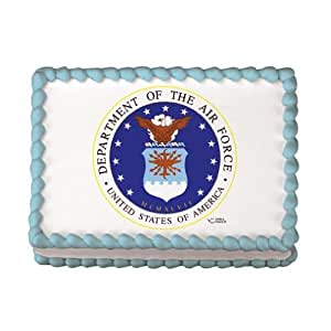 Air force emblem edible icing cake image for Air force cakes decoration
