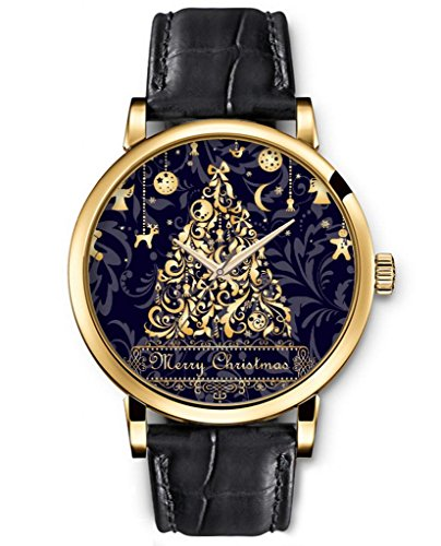 SPRAWL Classic Analog Round Face Genuine Black Leather Gold Watches Gloden Tree And Stars Christmas Gifts for Girls
