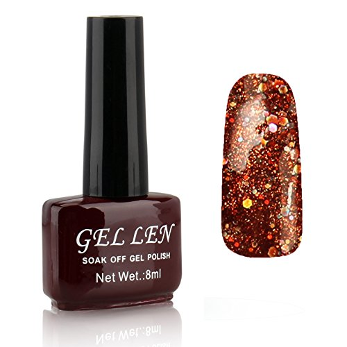 Gellen-LED-Gel-Polish-Color-Gels-1pc-8ml-Glitter-Series-Shiny-Lovely-Brown-Bottle-Color269