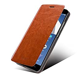 Tarkan MOFI Royal Vintage Leather Slim Best Flip Cover Case with Convertible Back Stand For OnePlus Two (Brown)