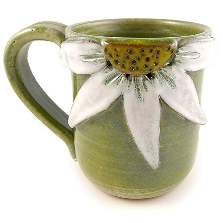 Daisy Flower Hand-Sculpted Stoneware Mug, 14-oz, Made in the USA