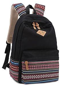 Leaper Causal Style Lightweight Canvas Laptop Bag/ Shoulder Bag/ School Backpack/ Travel Bag/ Handbag with Embroidery Design