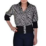 Miss Posh Womens Cropped 3/4 Sleeve Buttoned Zebra Print Bomber Jacket - 10