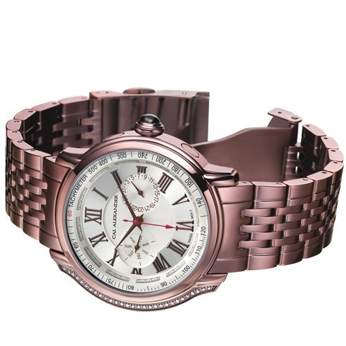 CAL ALEXANDER MENS SWISS MOVEMENT DESIGNER TIMEPIECE Stainless Steel, Plated in Chocolate Ion - 0.145ctw Diamond