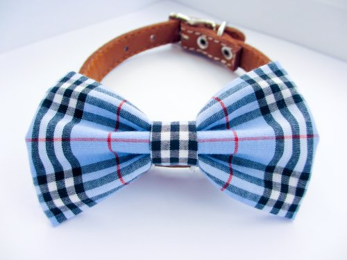 Dog or Cat Slide on Handcrafted Bow Tie Collar Accessory - Blue Plaid