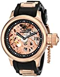 Invicta Russian Diver Men's Mechanical Watch with Rose Gold Skeleton Dial Analogue Display and Black PU Strap 1090