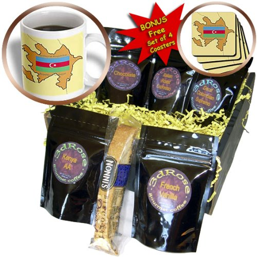 cgb_47321_1 777images Flags and Maps - Map and Flag of Azerbaijan with Republic of Azerbaijan printed in English and Azerbaijani - Coffee Gift Baskets - Coffee Gift Basket 3dRose B007XZ6DY2