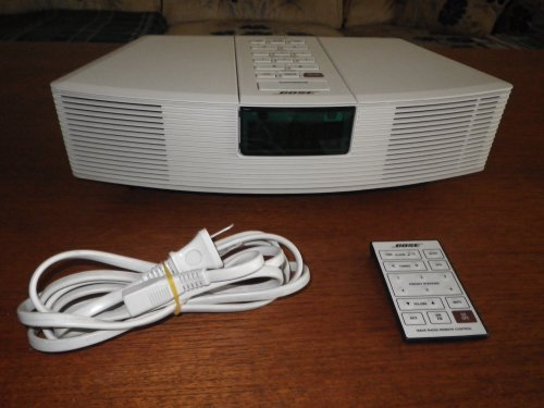 Bose Acoustic Wave Clock Radio Awr1-1W With Remote And Pedestal