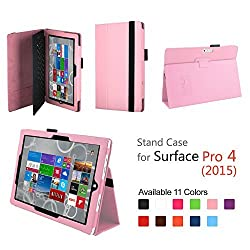 Elsse for Surface Pro 4 - Premium Folio Case with Built in Stand for Microsoft Surface Pro 4 - Light Pink