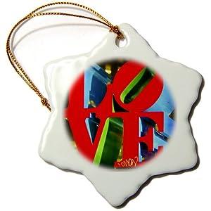3dRose orn_55952_1 Sculpture Love Philadelphia Snowflake Decorative Hanging Ornament, Porcelain, 3-Inch