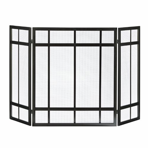 Buy Discount Pleasant Hearth Mission Style 3-Panel Fireplace Screen