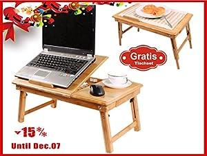 SoBuy FBT04-W Table de lit pliable pour repas, PC portable, iPad etc. en double plateaux en bambou, Qaulité super, 55cm x35cm + une Lampe USB pour PC