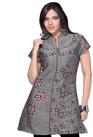 Jayayamala Gray Cotton Tunic Flower Embroidered Party Dress Short Sleeve Tunic (L)