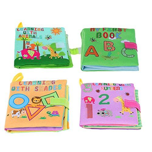 Goolsky Coolplay Ensemble de Livres Tissu de 4 avec un Sondeur pour Tout-petits Infantile Eveloppement Intellectuel