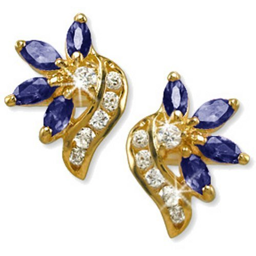 24k Gold Bonded Cubic Zirconia Simulated Sapphire Earrings