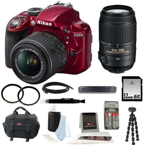 Nikon D3300 Dx-Format Digital Slr Kit W/ 18-55Mm Dx Vr Ii Zoom Lens (Red) + Nikon 55-300Mm F4.5-5.6G Ed Vr Af-S Dx Nikkor Zoom + 32Gb Sd Hc Memory Card + 58Mm Uv Protectors + 52Mm Uv Protectors + Lens Band Stop Zoom Creep (Black) + Focus Deluxe Soft Shell