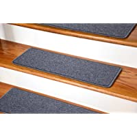 Dean DIY Peel and Stick Serged Non-Skid Carpet Stair Treads - Steel Gray (13) 27