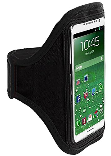 Mylife (Tm) Classic Black Velcro Strap (Light Weight Flexible Neoprene + Secure Running Armband) For Samsung Galaxy S3 And S4 Touch Phone (Designed For All Galaxy S3 And S4 Models From All Carriers + Universal One Size Fits All + Velcro Secured + Adjustab