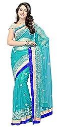 Viraja Fashion Ista Women's Net Saree (Blue)