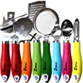 Kitchen Gadgets tools Set By Chefcoo™ - Stainless-Steal 7 Pieces kitchen Utensils Chef Cooking Set - Peeler, Ice Cream Scoop, Bottle Opener, Can Opener, Pizza Cutter, Grater, & Tea Strainer